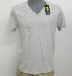 Armani-Exchange-Grey-Heather-White-AX-V-Neck-Men-039-s-S-S-T-Shirt-NWT-50-Choose-Sz