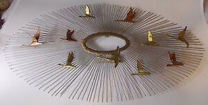 Image Is Loading Curtis Jere Large Metal Sunburst Birds Wall Sculpture  Great Pictures