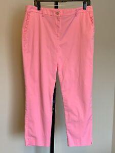 Ann Taylor Pink Cropped Capri Pants Sz 10 Curvy Fit Ruffle Accent