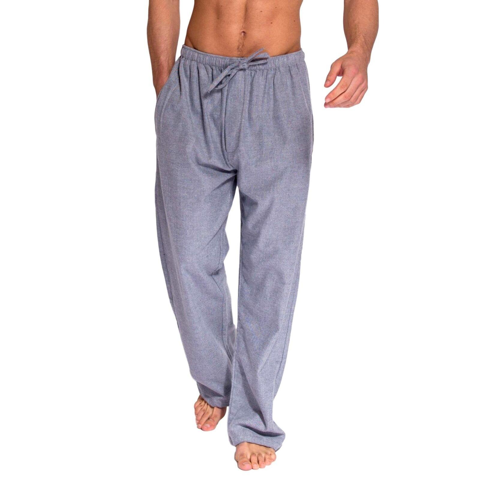 British Boxers Men's Ash Grey Herringbone Two-Fold Flannel Pyjama Trouser