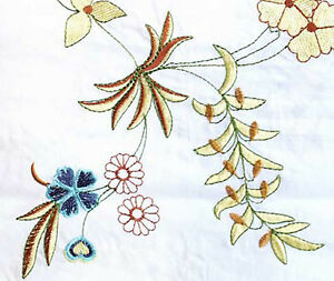 White-Fabric-with-Gold-Red-amp-Blue-Flowers-Embroidered-Cotton-Fabric
