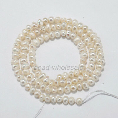 4mm 5mm 6mm 7mm White Cultured Freshwater Pearl Loose Beads Fit Jewelry DIY