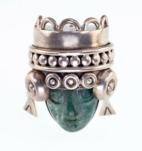 Green Calcite Aztec Mask Figure Brooch By Los Ballesteros Taxco Mexico