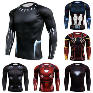 Men-Marvel-Superhero-T-shirt-Athletic-Fitness-Compression-Gym-Jersey-Tops-Tee