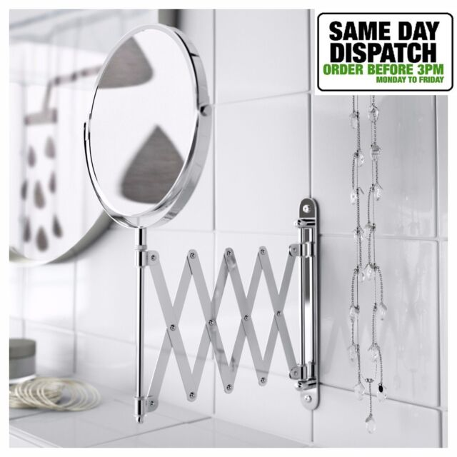 Ikea Frack Wall Extendable Stainless Steel Round Shave Mirror Magnifying Gl