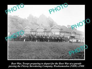 OLD-LARGE-HISTORIC-PHOTO-OF-BOER-WAR-TROOPS-DEPARTING-WOOLOOMOOLOO-NSW-c1900