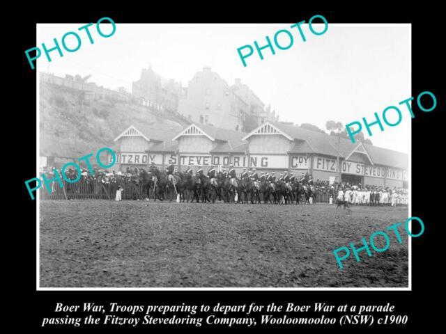 OLD LARGE HISTORIC PHOTO OF BOER WAR TROOPS DEPARTING WOOLOOMOOLOO NSW c1900