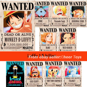 Image Is Loading 10pcs One Piece Luffy 1 5 Billion Berry
