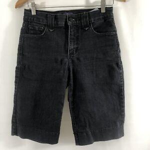 NYDJ-Not-Your-Daughters-Jeans-Women-039-s-Denim-Shorts-Size-2-Black-Bermuda