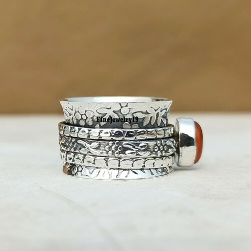 Carnelian Ring 925 Sterling Silver Spinner Ring Meditation Handmade Jewelry A323