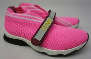 Women's Shoes Fendi Pink Knit Fabric 'fendi Love' Stretch Rockoko Sneakers Shoes Size 37 Soft And Antislippery