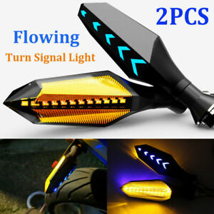 Motorcycle-2X-Turn-Signal-LED-Lamp-Sequential-Flowing-Indicator-Lights-Amber-NEW