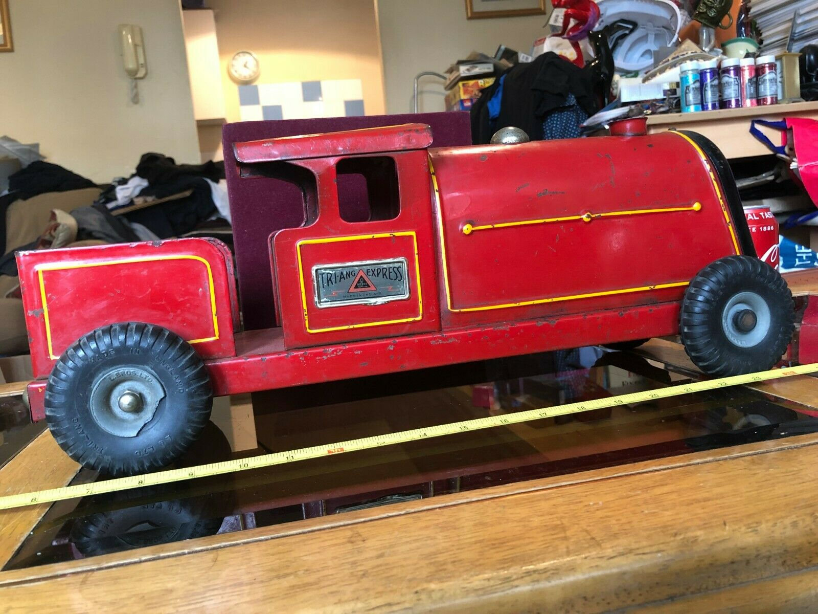 Red Tri-ang Express Train Toy Car Triang Vintage 50cm 50cm Long Metal Classic
