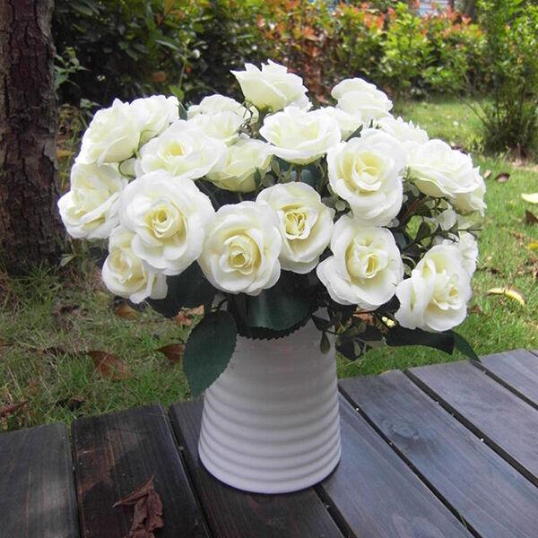 Artificial False Rose Silk Flowers Leaf Home Wedding Garden Decor DIY White