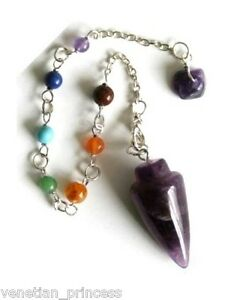 Details about Natural Amethyst 7 Chakra Pendulum Pendent Charm USA SELLER  BRAND NEW Hand Craft