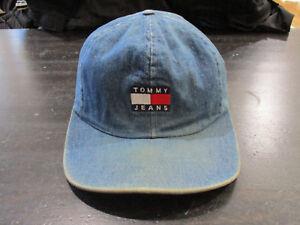 9eb3634e4 VINTAGE Tommy Hilfiger Leather Strap Back Hat Cap Blue Flag Spell ...