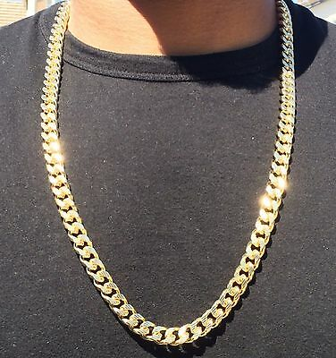 Hip Hop 30 Inch 14K Gold Cuban Link Chain With Diamond Cuts