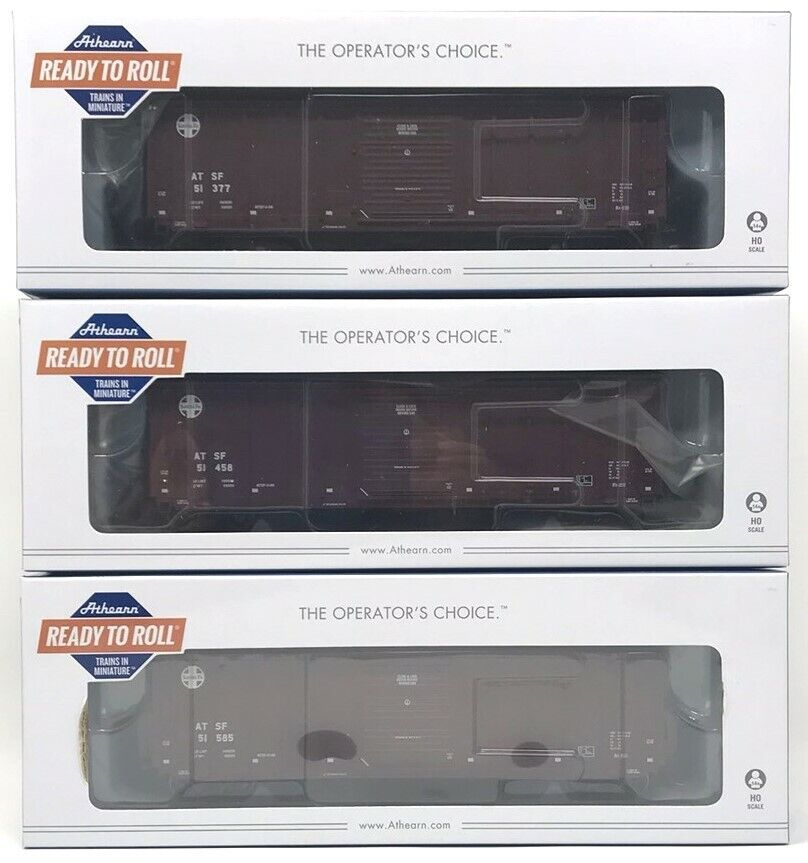NEW Lot of 3 HO Scale Scale Scale Athearn RTR 50' PS 5277 Box Cars - Santa Fe ATSF, 3 Rd  s ddf768