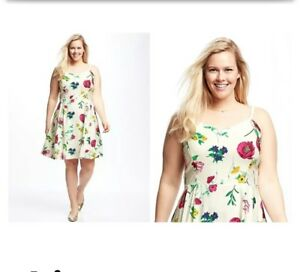Details about WHITE OLD NAVY PRINT FIT   FLARE FLORAL SPAGHETTI STRAPS CAMI  DRESS SZ S 05e2d370d