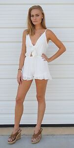 7cb42d6dff3f Image is loading White-Spaghetti-Strap-Tie-Front-Playsuit-Romper-S-M-L-