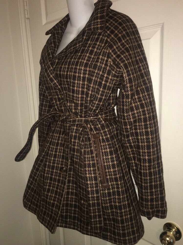 The North Face Women's Tweed Plaid Wool Cotton Brown Belted Trench Coat M