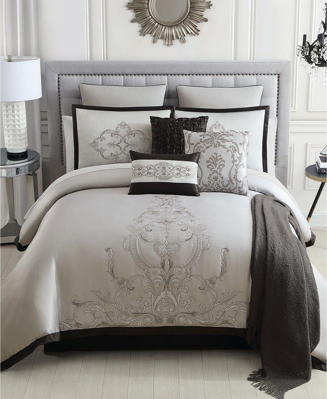Hallmart Collectibles 14 Piece King Comforter Set Eminence 200 TC grau B98248