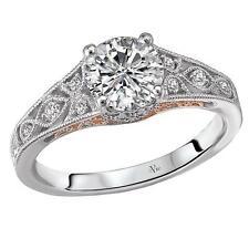 NEW 14k WHITE & ROSE GOLD SEMI-MOUNT DIAMOND ROUND VINTAGE STYLE ENGAGEMENT RING