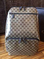 Gucci 179606 Backpack Rucksack aus GG Supreme-Canvas mit Leder Cristal Line NEU