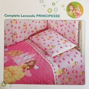 Set Lenzuola Lettino Baby Neonato Principesse Rosa Disney Caleffi ...
