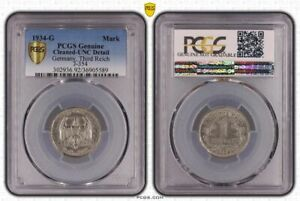 3. Rich 1 Mark 1934 G Mint State, Minimal Cleaned PCGS Genuine