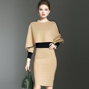 Elegant-Women-Colorblock-Slim-Bodycon-Dress-Business-Work-Office-Outwear-Dresses