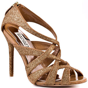 Badgley Mischka Junebug Rose Gold Glitter Sandal Strappy Pump ...