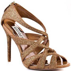 Badgley Mischka Junebug Rose Gold Glitter Sandal Strappy Pump ...