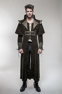 Punk Rave Mens Coat Long Jacket Coffee Gothic Steampunk Regency Highwayman Y654