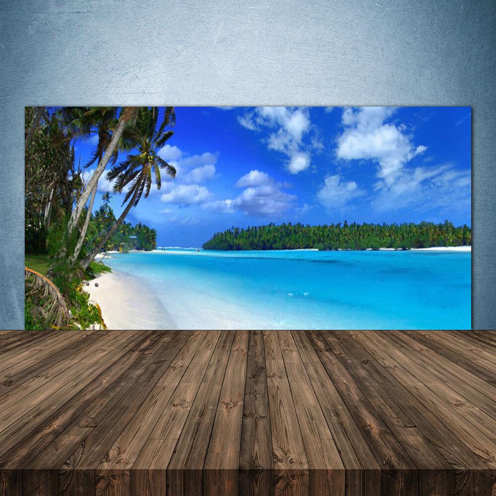 Crédence de cuisine en verre Panneau 140x70 Paysage Palmes Plage Mer Du Sud