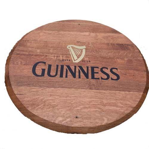 Recycled Solid Oak Wooden Guinness Branded Whisky Barrel End   Wooden Keg End