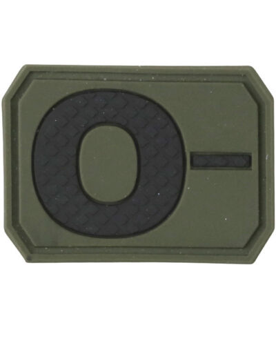 NEW SUBDUED GREEN PVC BLOOD,ALLERGY VELCRO® BRAND HOOK PATCH-A+,A-,B+,B-,O+,O-,