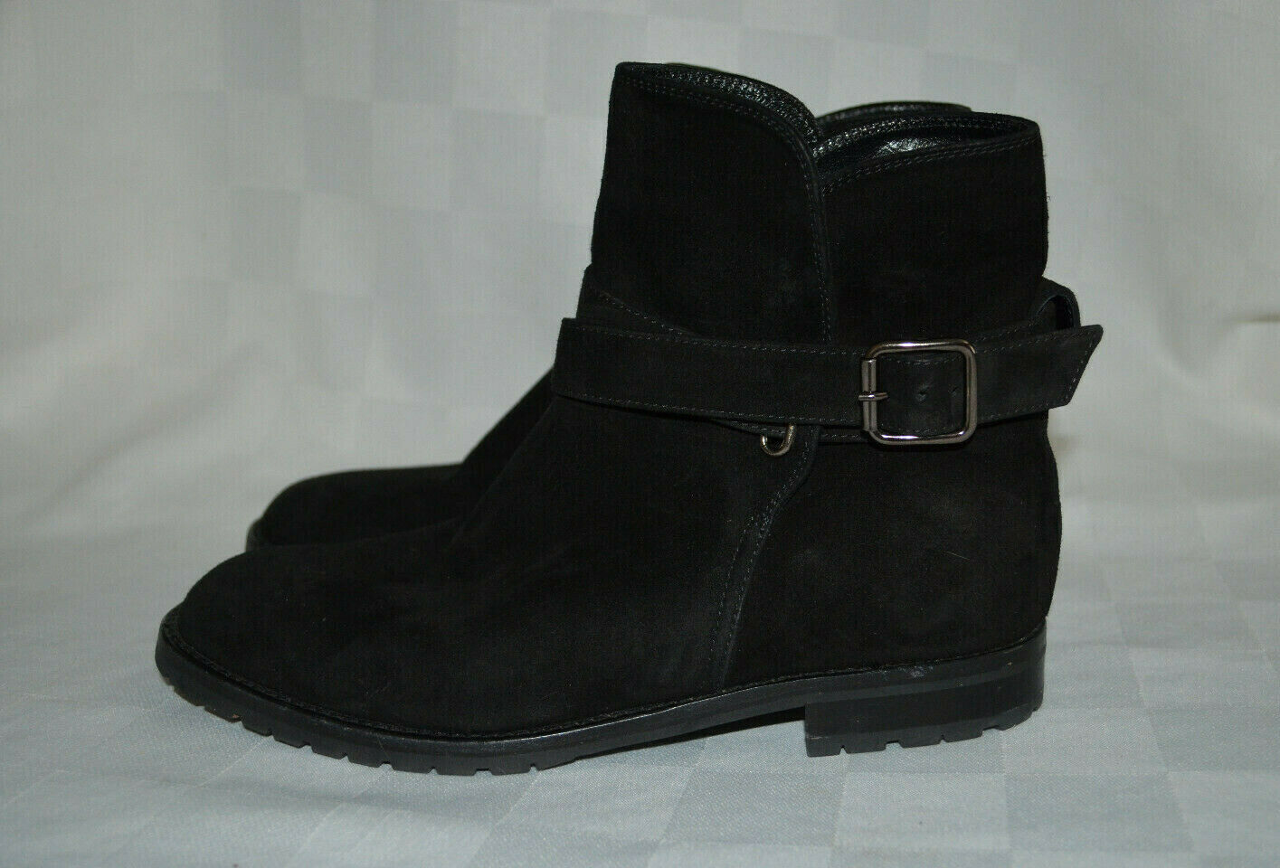 995 Sz 37 6.5 Manolo Blahnik Black Vintage Sulgambo Suede Ankle Boots Booties