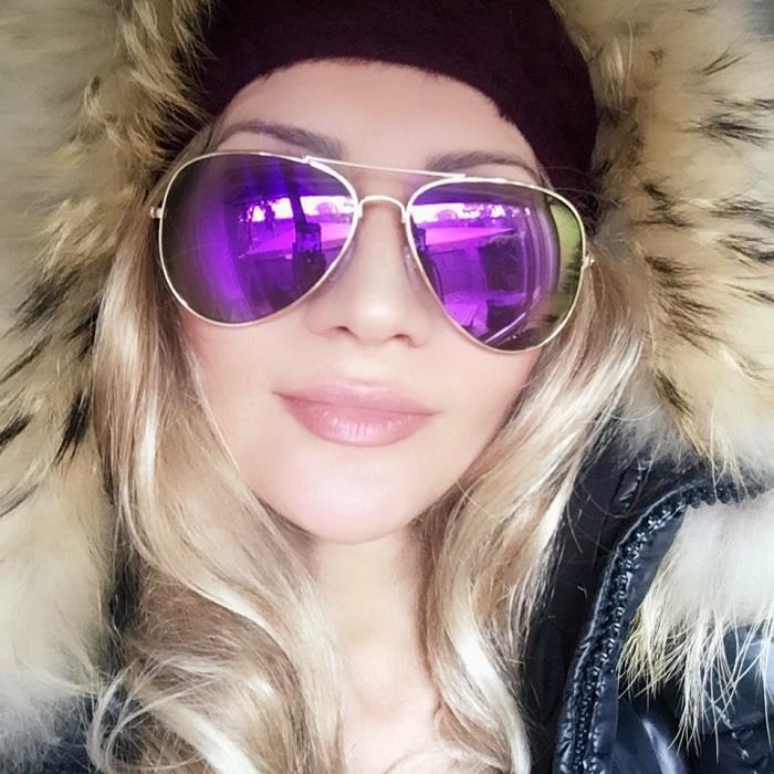 HOT Lavender Purple Mirror Gold Frame Aviator Fashion Blogger Sunglasses 6085 IT