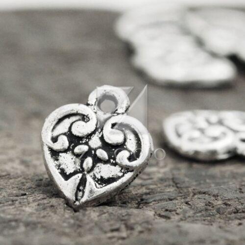 100pcs DIY Charm Pendant Tibetan Silver Jewellery Findings Heart 13.5x10x2.5mm