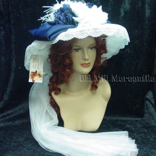 Victorian Hat History | Bonnets, Hats, Caps 1830-1890s    Edwardian Victorian Elsie Massey Old West style hat White & Navy blue hatpin inc $75.00 AT vintagedancer.com