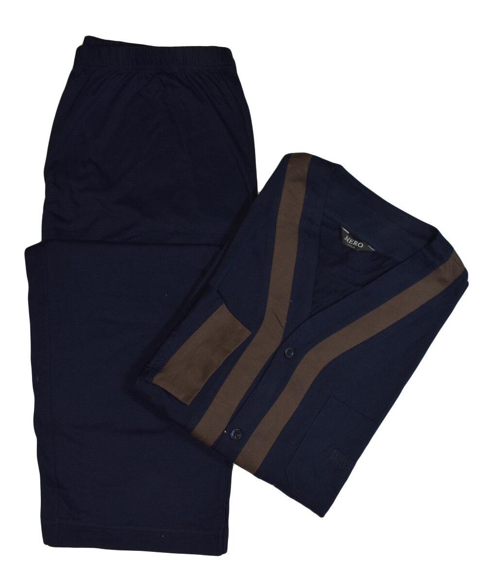 black Perla Mens Navy bluee 100% Cotton Long Sleeve Pajama Set Sleepwear