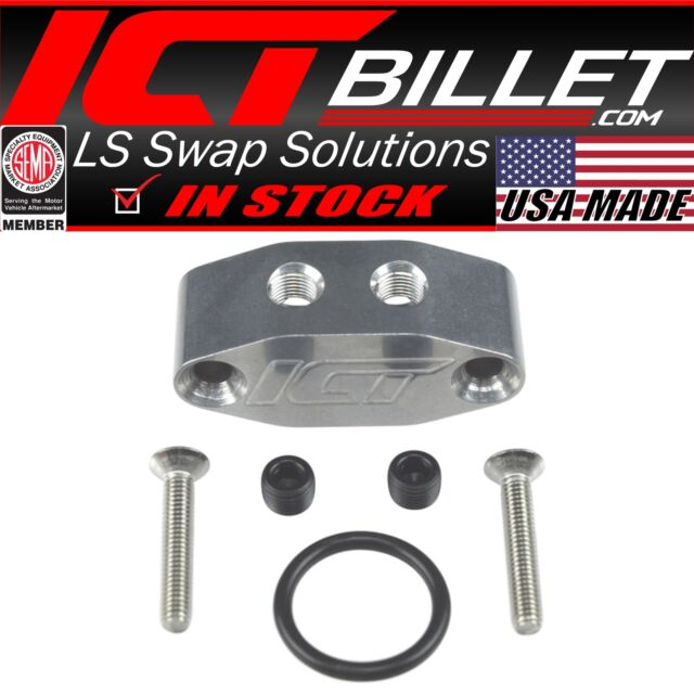 LSX 1//8 DUAL OUT FEED OIL PORT ADAPTER PLATE LS1 LS Camaro Port 90 degree 551533
