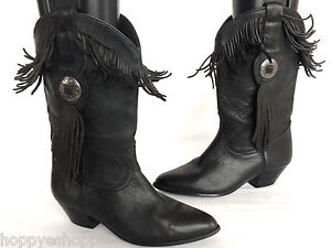 Acme-Black-Leather-Western-Boots-Fringes-Stacked-Heel-Womens-6-Mexico-Mint-Upper