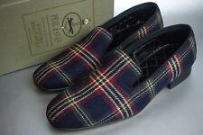 Brooks Brothers Peal Co Navy Blue Tartan Wool Slippers ~ MSRP $248 NIB 7.5D New