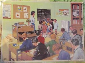 Ancien-Objet-de-Metier-Affiche-Scolaire-La-Classe-dans-les-annees-1950