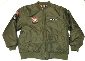 NEW-Rocawear-Mens-Bomber-Jacket-Coat-w-Embroidery-Olive-Green-L-XL-68-BU41818