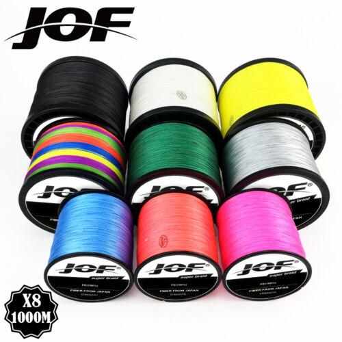 JOF 8 brins 1000M 500M 300M PE tressé ligne de pêche japon multicolore eau de