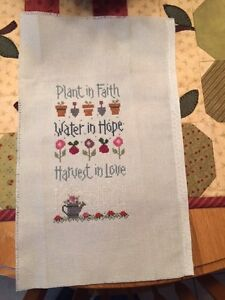 """Plant in Faith-Water in Hope-Harvest in Love"" -a handmade cross stitch by Nancy"