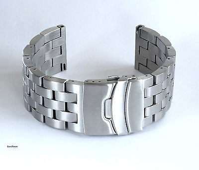 New Heavy Solid 316L Stainless Steel Brushed W/ Double Lock  Watch Band,Bracelet